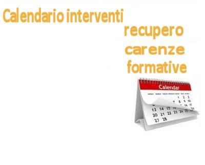 Calendario e destinatari interventi di recupero carenze formative trimestre