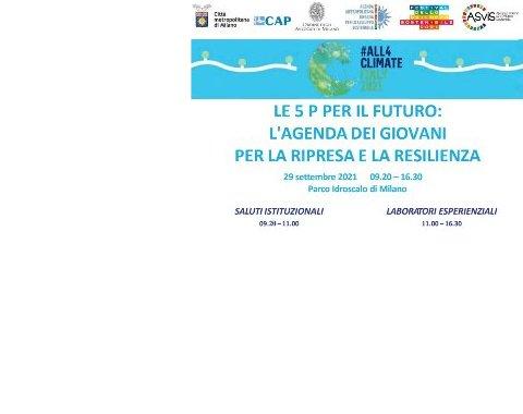 """Evento PRE-COP 26 """"Le 5 P per il futuro: l'agenda dei giovani per la ripresa e la resilienza"""""""